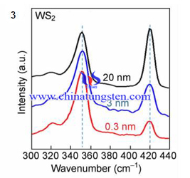 tungsten disulfide raman spectrum with different film thickness