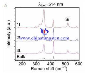 tungsten disulfide raman spectrum with varying layers